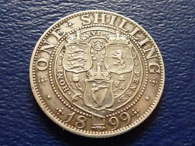 Queen Victoria Sterling Silver Shilling 1899 Nice Coin Great Britain Uk