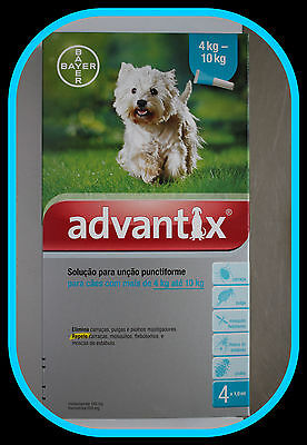ADVANTIX 4-10 kg Bayer Pack of 4 Dogs perros chien hund FREE SHIPPING EUROPE