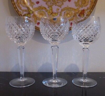 3 WATERFORD Crystal ALANA Hock Wine Goblets