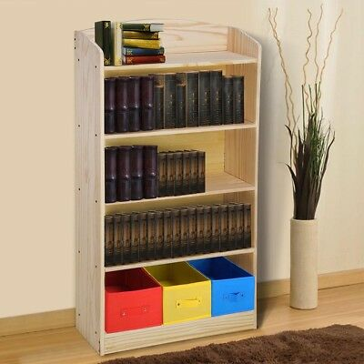 5 Shelf Wood Bookshelf Bookcase Book Rack w/ 3 Bins Storage Organizer Furniture