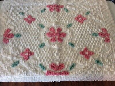 Two Large Chenille Pillow Cases_ Covers_Vintage_ Bed Pillow Shams
