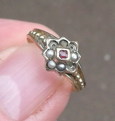 Childs Antique Solid 10Ct Gold Ruby & Seed Pearl Victorian Ring