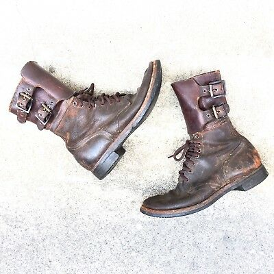 RARE Vintage WWII WW2 1940s Brown Combat Military 40s Boots Size 10 1/2, 10.5