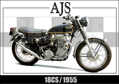 AJS 18cs LAMINATED CLASSIC MOTORCYCLE PRINT /  POSTER