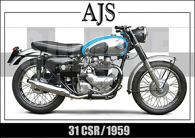 Ajs 31 Csr Laminated Classic Motorcycle Print /  Poster