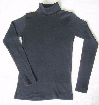 Vintage Stretch Polo-Neck Top - Age 14 - Black - 100% Cotton - New