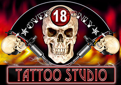 OVER 18 ONLY! LAMINATED TATTOO STUDIO SIGN 210 × 297 mm or 8.27 × 11.69 in