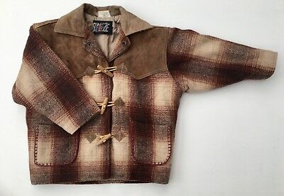 Vintage Kids Western Beige Red Tartan Check Plaid Wool Suede Jacket Coat Age 3 4