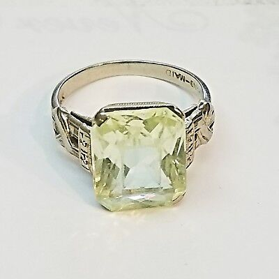 14K Yellow Gold estate jewelry art deco style with large green topaz