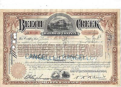 Beech Creek Railroad Company......1928 Stock Certificate