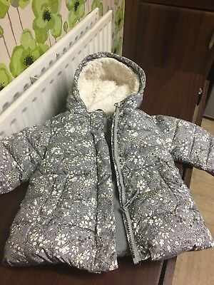Baby Girls Next Grey Ditsy Winter Coat 18-24 Months