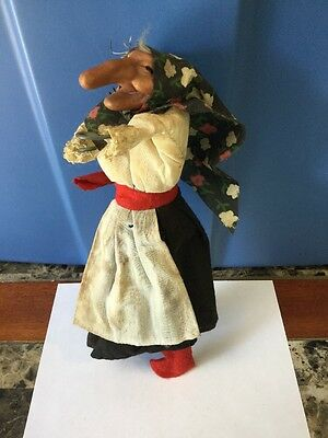 Vintage Homemade Scary Witch Decoration Figure With Plastic Head Wired Body