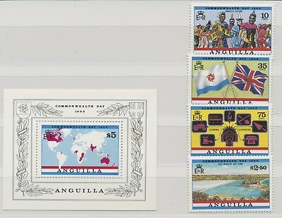 Anguilla 1983 Commonwealth Day MiNr. 525 - 529  + Minisheet 47 MNH / **