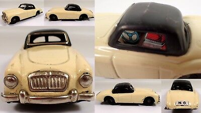 "5 1/2"" Vtg 1950s Made in Japan Tin Litho Friction Toy Car MG White Ivory & Black"