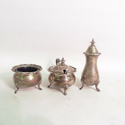 Silver Three Piece Cruet By Richard Richardson H/m Sheffield 1921