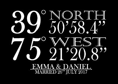 wedding gift personalised coordinates home a4 print couple