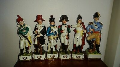Set of Six  Napoleon Officer Soldiers Porcelain Figurines