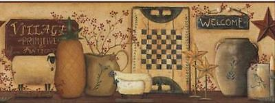 Primitive Collectibles(Sheep,Pineapple,Stars,Candle) -Wallpaper Border by York
