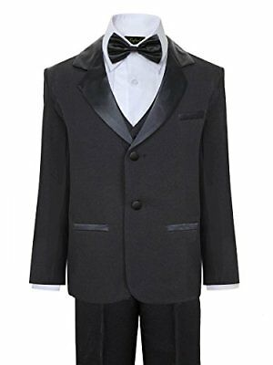 Boys Tuxedo with Vest Shirt and Bow Tie – Black Size 7