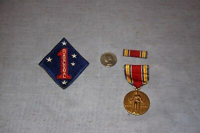 United States Marine Corps WW2 Campaign Medal, Ribbon & Guadalcanal Patch