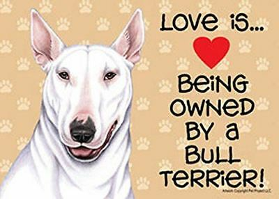 "Love is… being owned by a Bull Terrier (White) 5"" x 7"" Plastic Dog Sign"