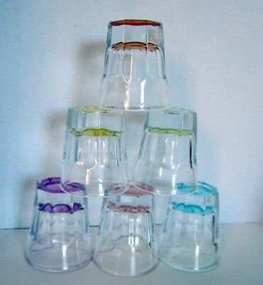 6 Heavy Top Quality Colored Thick Bottom 1 OZ Shot Glasses