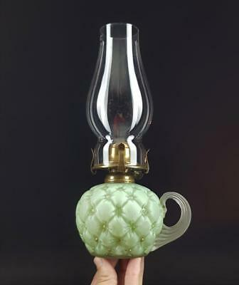 Victorian Satin Quilted Vaseline Glass Kerosene Paraffin Oil Finger Chamber Lamp