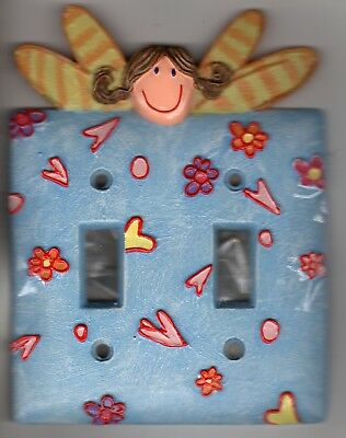 Double Toggle Switch Wall Plate Cover Resin Fairie Princess Screws Included