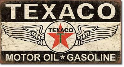 Texaco Motor Oil & Gas Gasoline Wings Star Tin Metal Sign Advertisement 16""