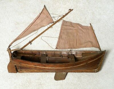 A Really Good Antique Wooden English Scratch Built Planked Pond Yacht Model Boat