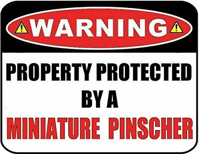 Property protected by Miniature Pinscher dog with attitude metal aluminum sign