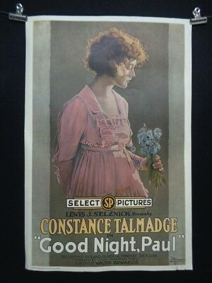 Vintage GOOD NIGHT PAUL Film LITHO Poster Constance Talmadge Portal Publications