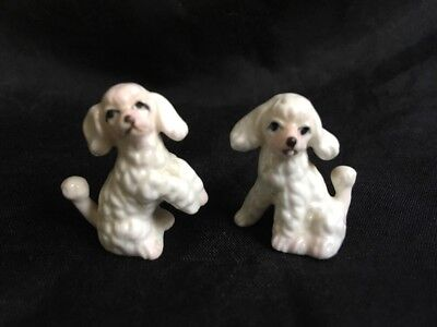 2 Miniature Dollhouse Vintage Ceramic White French Poodle Dogs Pups