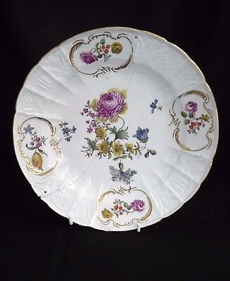 Meissen porcelain plate circa 1770-1790, moulded form hand painted flowers- Rare