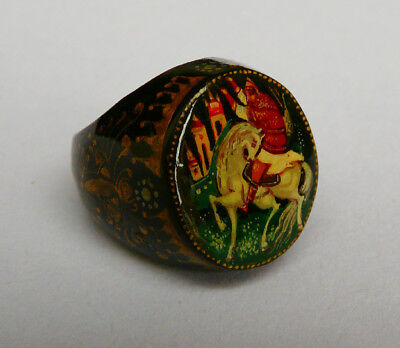 Vintage Russian ring- hand painted lacquered wood Ivan Tsarevich, signed- UK 'O'