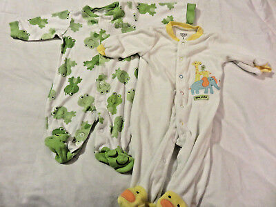 LOT 2 Carter's Baby 3 Month One-Piece Pajamas Girl Boy Cotton Blend Long-Sleeve