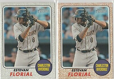 2017 Topps Heritage Minor League Estevan Florial Gray 12/25 Charleston  Yankees