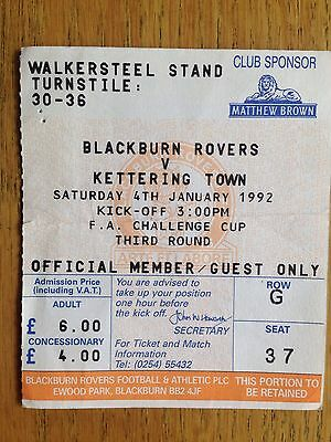 Blackburn Rovers v Kettering Town 1991/92 FA Cup match ticket