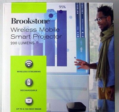 Brookstone Wireless Mobile Smart Projector~NEW IN NEVER OPENED BOX~200 LUMENS