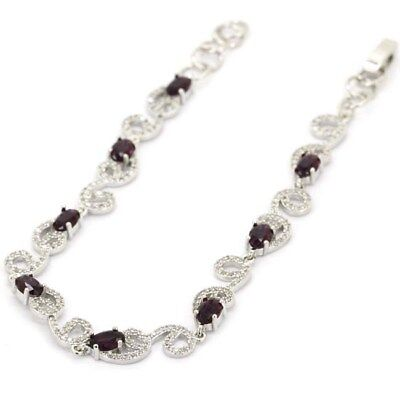 Hot Sell Amethyst, CZ Woman's Engagement Silver Bracelet 7.0-8.0""