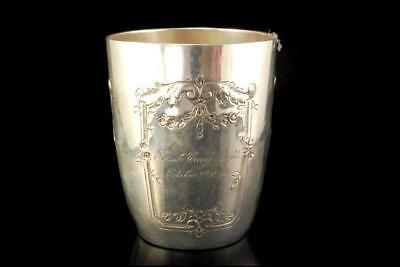 Antique French Sterling Silver Engraved Date Cup Goblet A801-802