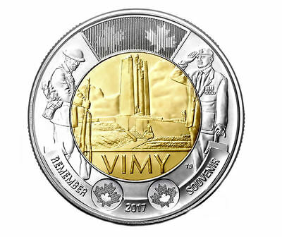 2017 Canada  Remember (Vimy Ridge 100th Anniversary  ) Toonie,  $2   UNC.