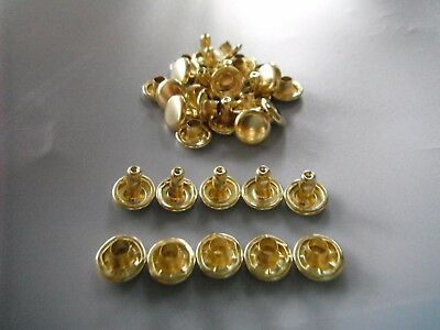 100 PIECE  BRASS COLOUR   RIVETS  Double capped 10mm caps 8mm post easy to use