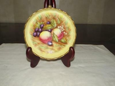 """Rare Aynsley Orchard Gold Fruit Footed 5.5"""" Dish / Compote - Signed D.Jones"""