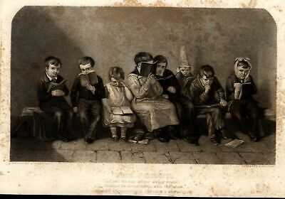 School boys read books Dunce cap frowns smiles c.1850 pair old engraved prints