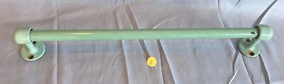 "Antique Jadite Apple Green  Porcelain 18"" Towel Bar  Vtg Cast Iron Old 190-17J"