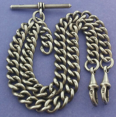 Heavy Antique Hallmarked Solid Silver Double Albert Pocket Watch Chain c1919
