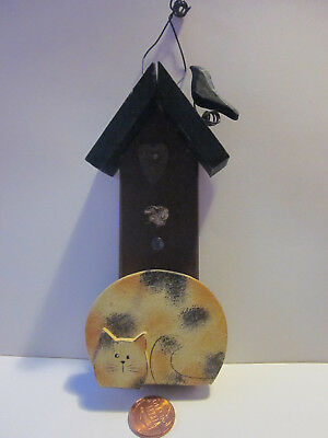 Cat Christmas ornament folk style of cat & bird house paint and wood