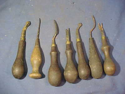 7-19thc Metal LEATHER WORKING Hand TOOLS w Wood Handles Lot 3