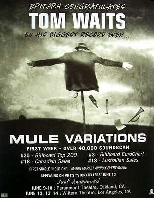 TOM WAITS 1999 Poster Ad MULE VARIATIONS
